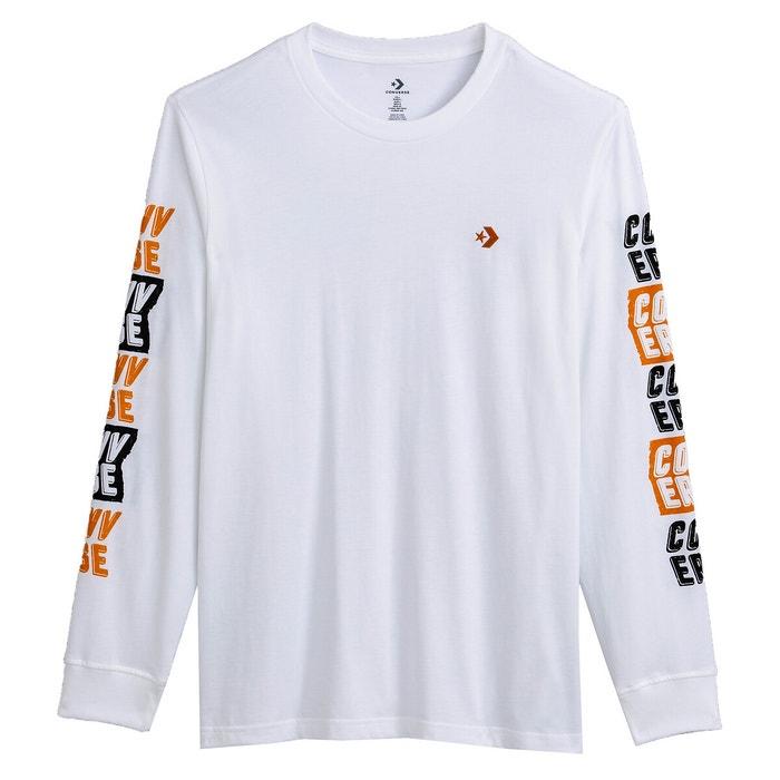 T-shirt maniche lunghe fold out bianco Converse   La Redoute