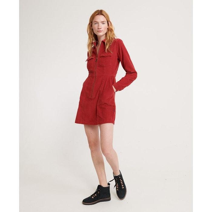 Robe chemisier en velours côtelé hadley rouge furnace