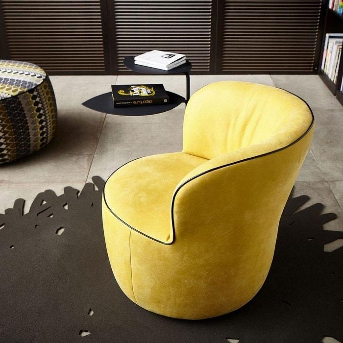 Fauteuil Pivotant Rond Design Lido En Cuir Jaune Safran