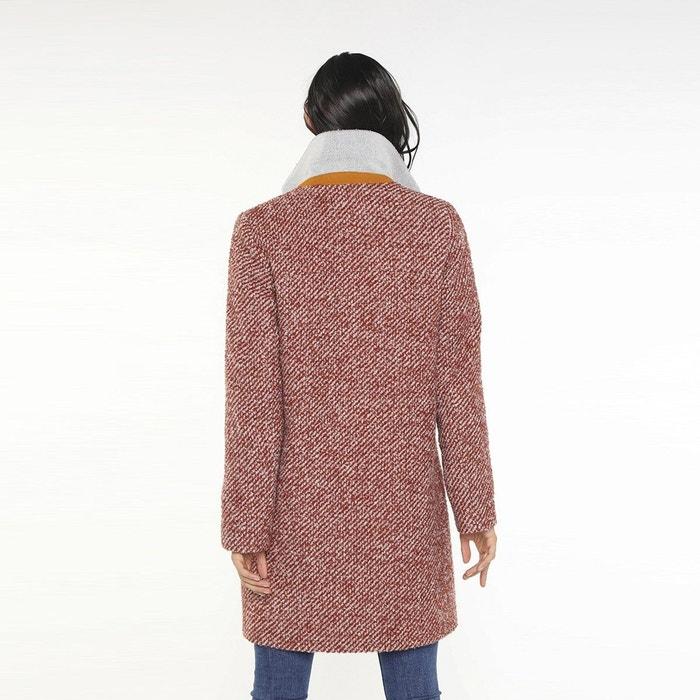 Manteau col tailleur tweed bouclé brique pour femme Trench