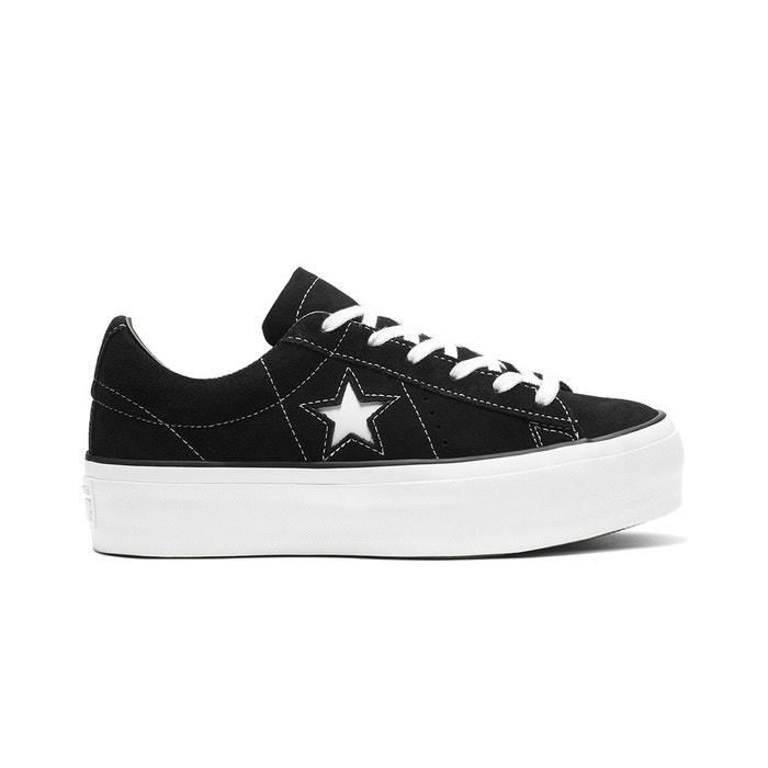 Chaussures en cuir Converse One Star noires à plateforme