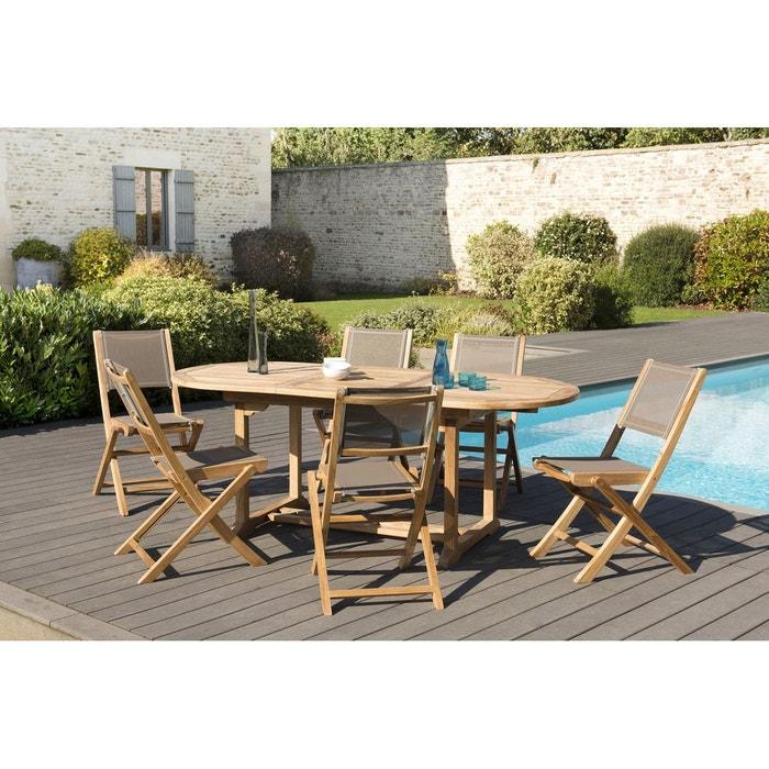 Salon de jardin extensible ovale bois de teck table de jardin 150/200x90cm  + 6 chaises pliantes SUMMER