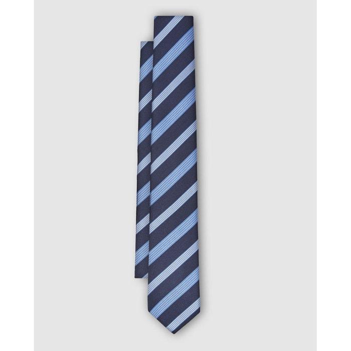 Cravate en soie jacquard à rayures diagonales bleu et