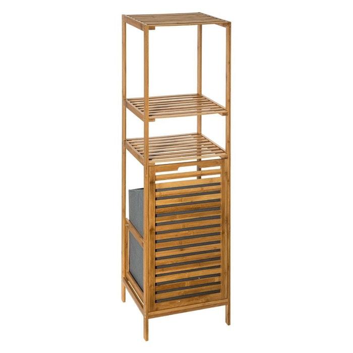 Étagère colonne de salle de bain avec panier à linge 118cm bois de bambou 2  niveaux