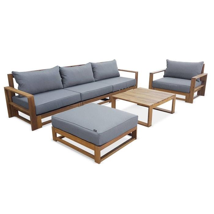 Salon de jardin en bois 5 places - mendoza - coussins gris ...