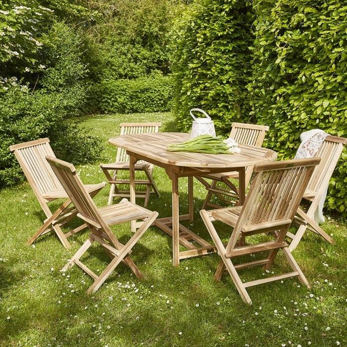 Salon de jardin en teck 4 à 6 places naturel Bois Dessus ...