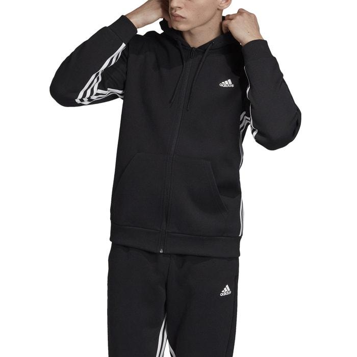 Felpa shirt 3 bande con cerniera e cappuccio nero Adidas