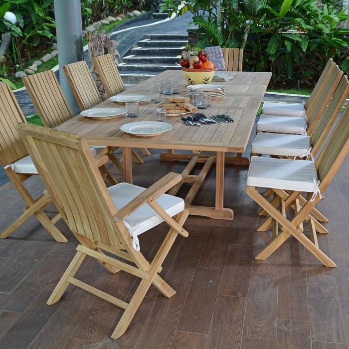 Salon de jardin en teck qualité ecograde bornéo, 10/12 ...