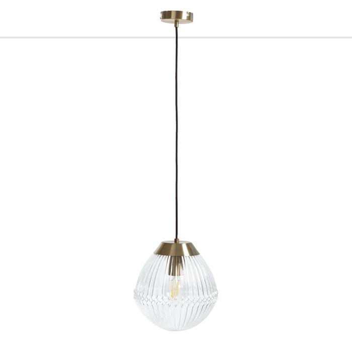 Ari brass and ridged glass pendant , transparent, La Redoute