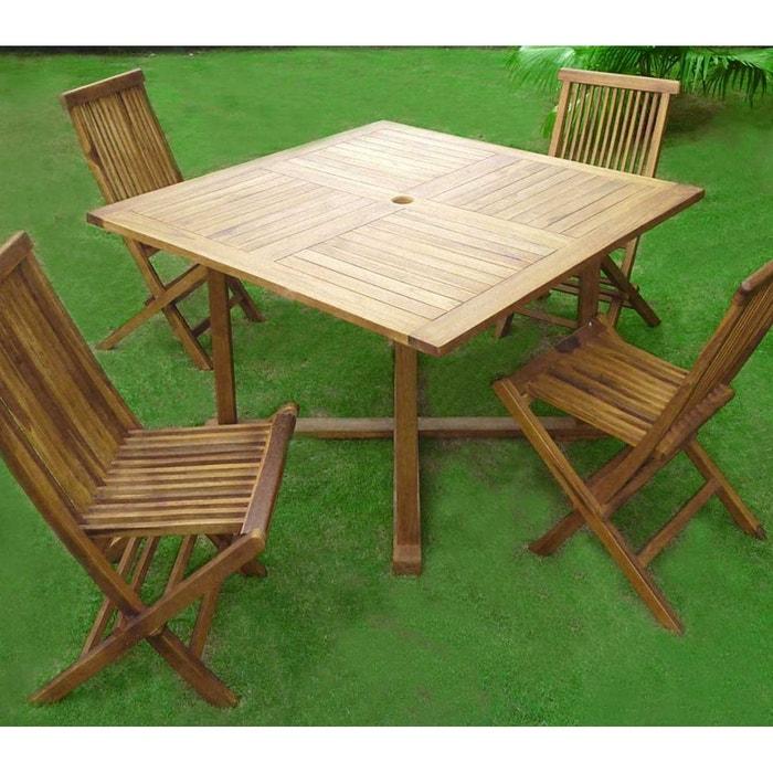 salon en teck pour le jardin avec 4 chaises et sa table carrée