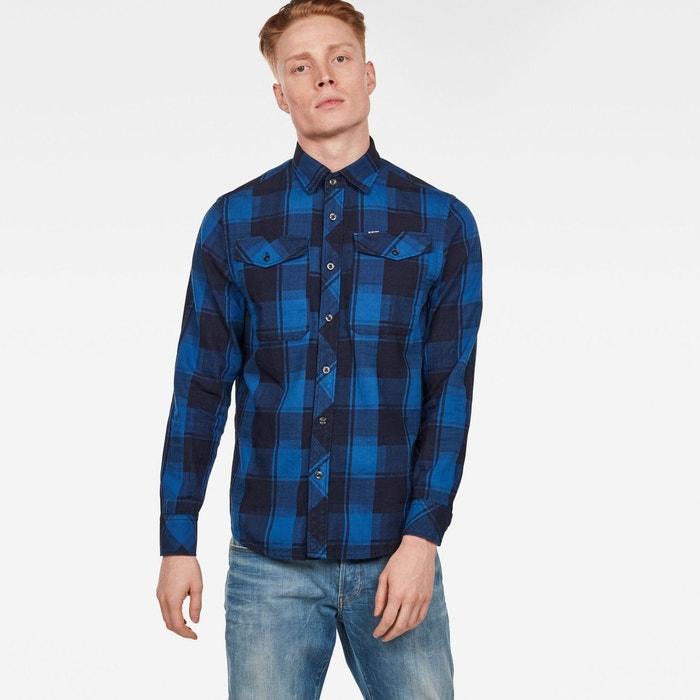Chemise coupe manches longues indigohudson blue check G