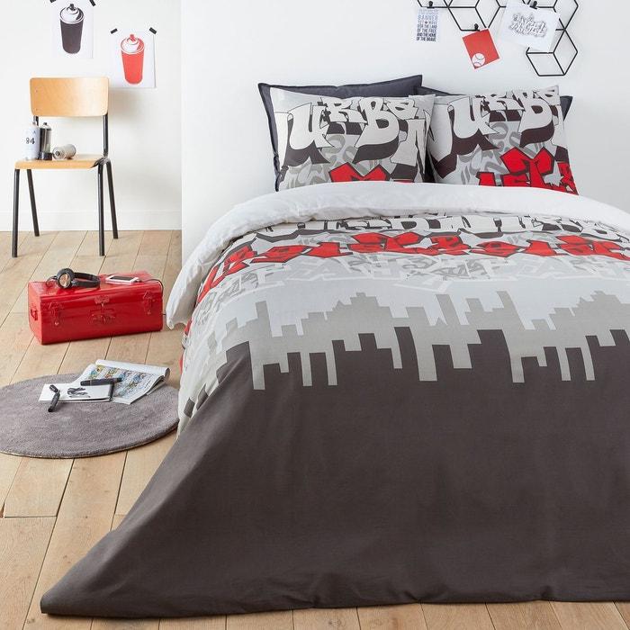 Housse De Couette Coton Urban Graph Gris Imprime Rouge Blanc La Redoute Interieurs La Redoute