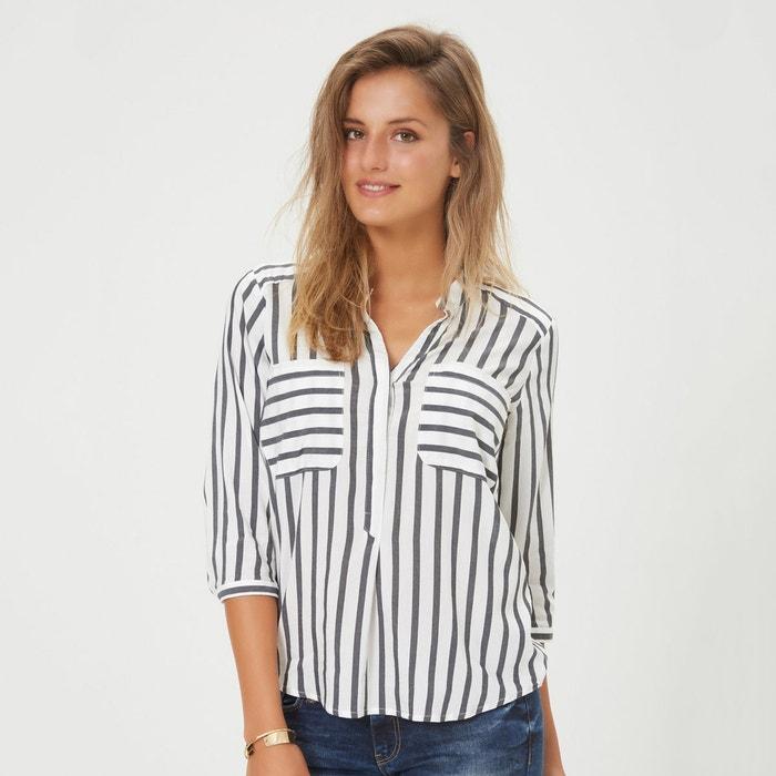 rendimiento superior 100% autenticado moda atractiva Blusa a rayas con cuello de pico y manga 3/4