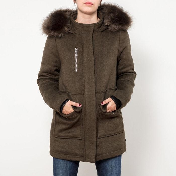 tout neuf 71df0 47848 Manteau mi-long avec capuche, en drap de laine