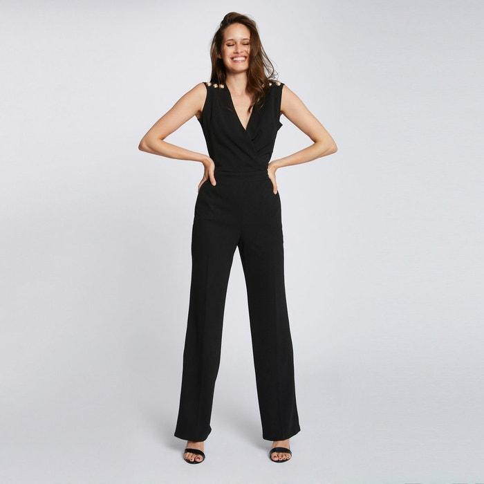 paquet à la mode et attrayant gros remise magasin meilleurs vendeurs Combinaison pantalon cache-cœur sans manches noir Morgan ...