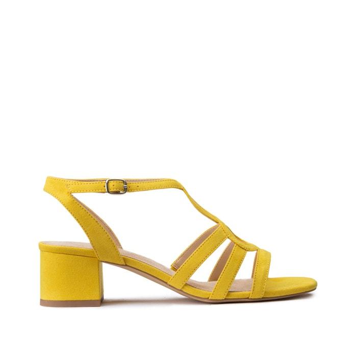 Multi-strap heeled sandals lemon yellow