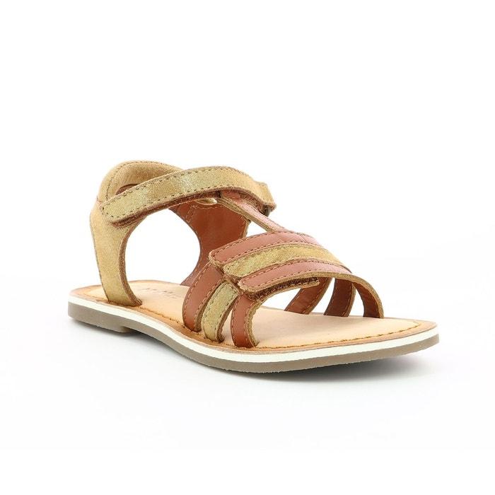 Sandales cuir à scratch diamanto camel Kickers | La Redoute