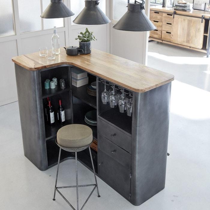 Bar En Angle Industriel Métal Gris Et Plateau En Bois Mk50