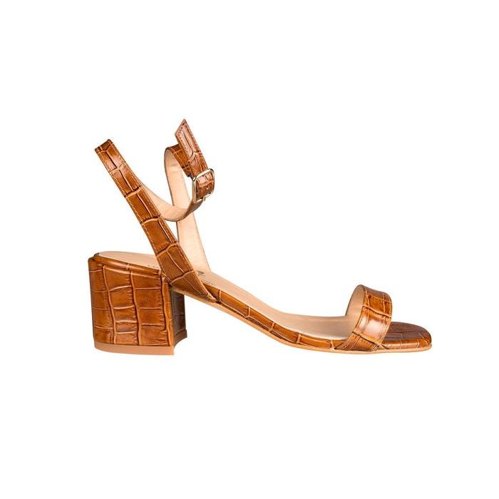 Sandales femme talon carré cuir effet croco lilla