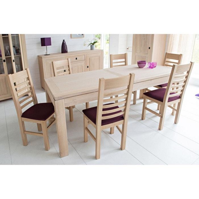 Table moderne extensible boston bois chêne blanchi massif