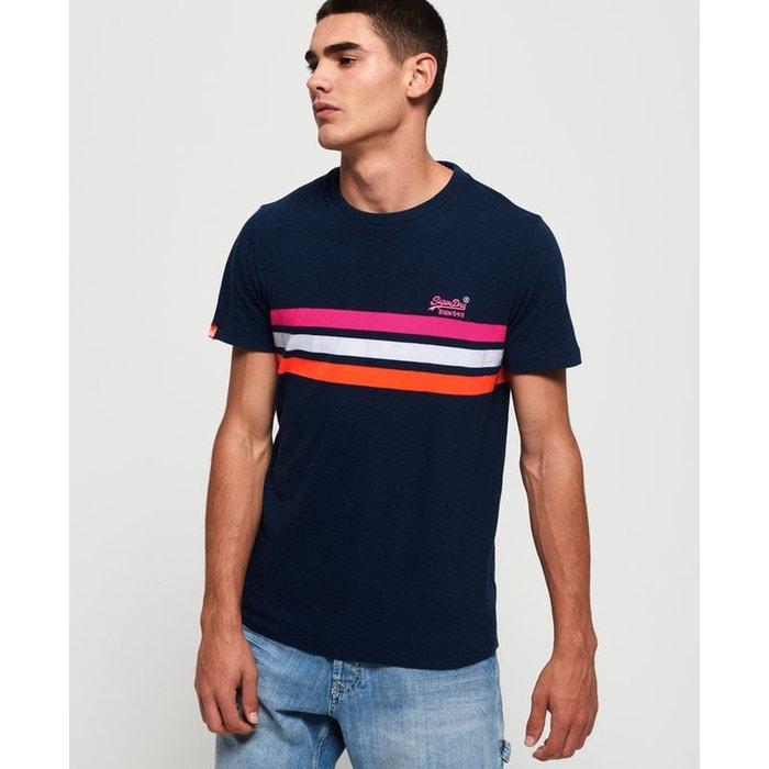 t shirt superdry bleu a bande