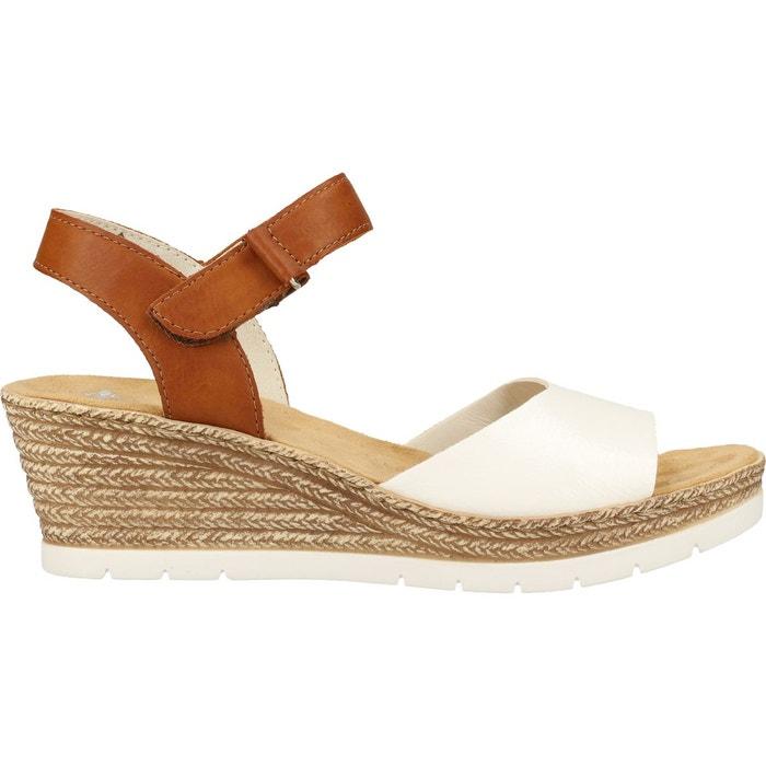 Sandales imitation cuir blancmarron Rieker   La Redoute