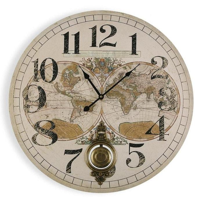 Horloge Murale En Bois D58cm Mappemonde Ivoire Natacha B La Redoute