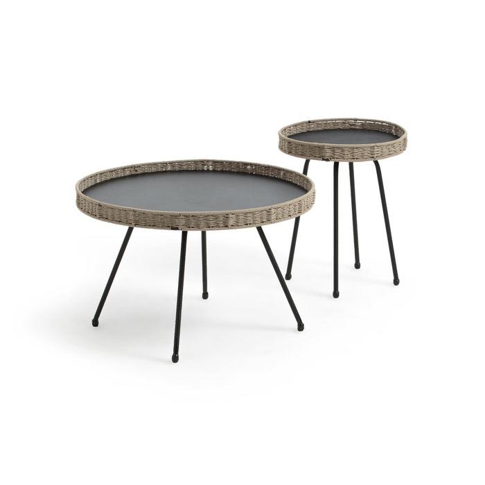 Table basse de jardin palma, petit plateau gris + beige La ...