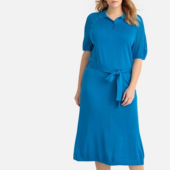 Polo collar straight midi dress royal blue Castaluna Plus ...