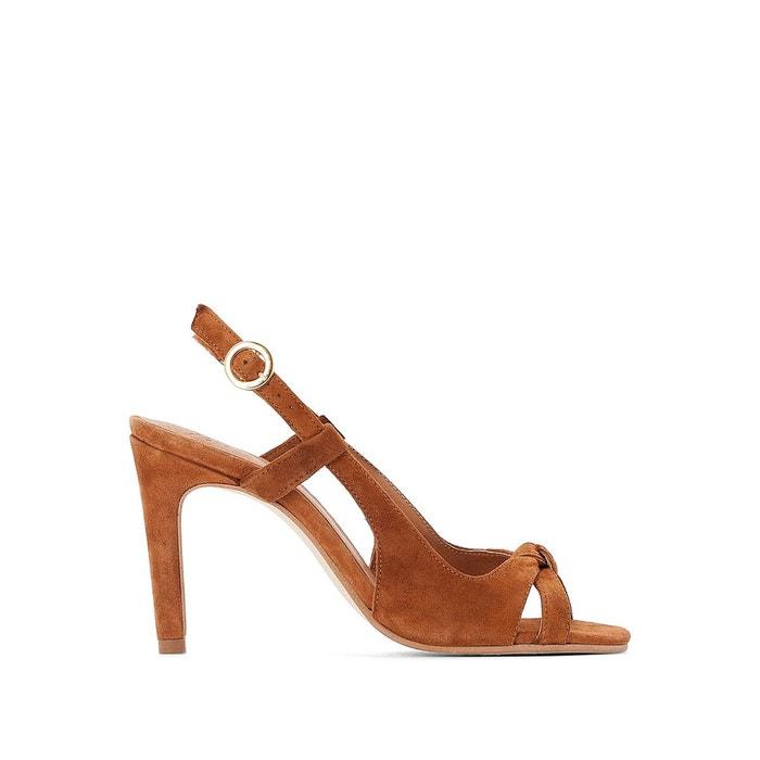 sandales bout ouvert talon carré camel du 36 au 41