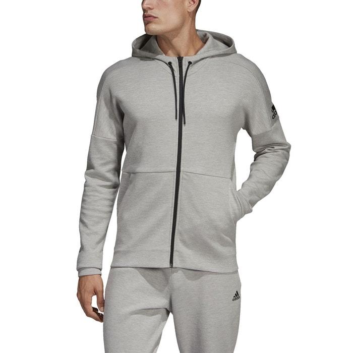 Sweat zippé à capuche id stadium gris chiné Adidas