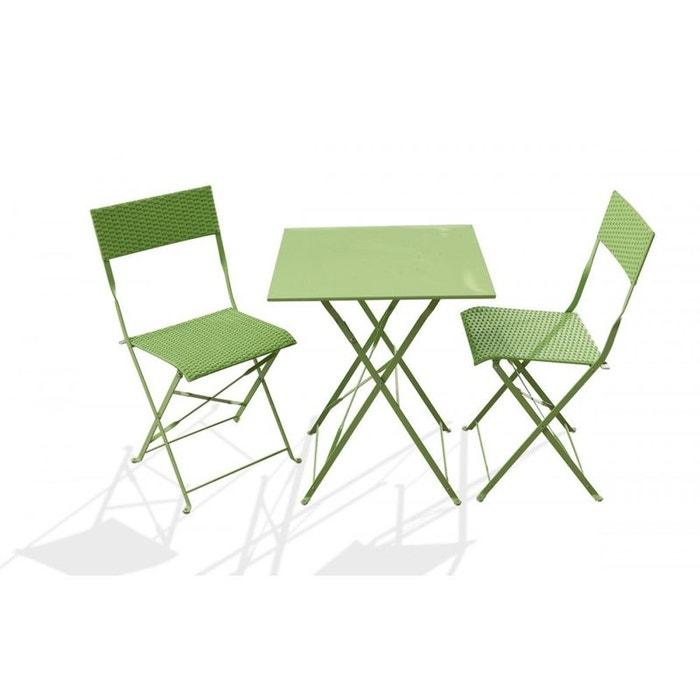 Ensemble guéridon de jardin avec 2 chaises pliantes vert Dcb ...