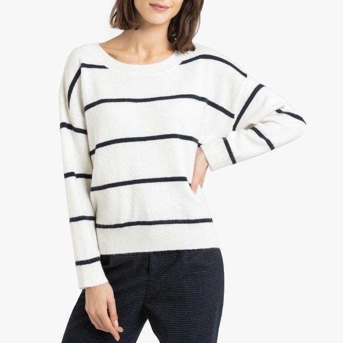 Gestreepte trui met fijn tricot prego witblauw Suncoo | La