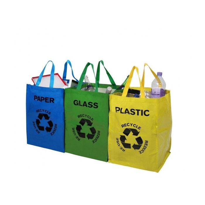 qualité clair et distinctif emballage fort Set de 3 Sacs de Tri Sélectif Bleu, Jaune et Vert Papier, Plastique et  Verre avec Anses de Transport