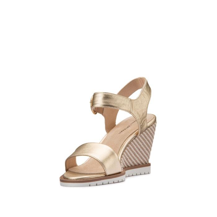 Sandales compensées cuir Anne Weyburn en beige pour femme