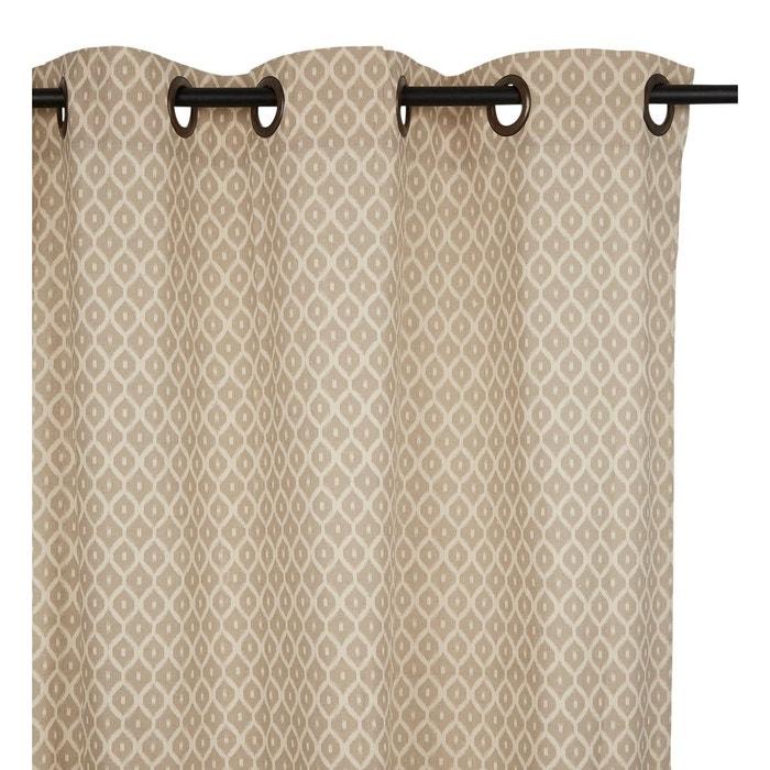 Rideau Oeillet Small Ikat Coton Gris Clair 140 X 280 Cm
