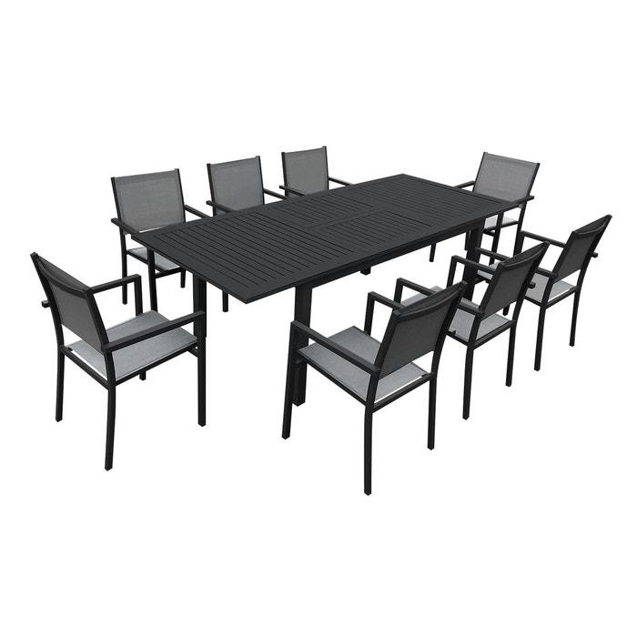 Salon de jardin capri 8 places table à rallonge textiène ...