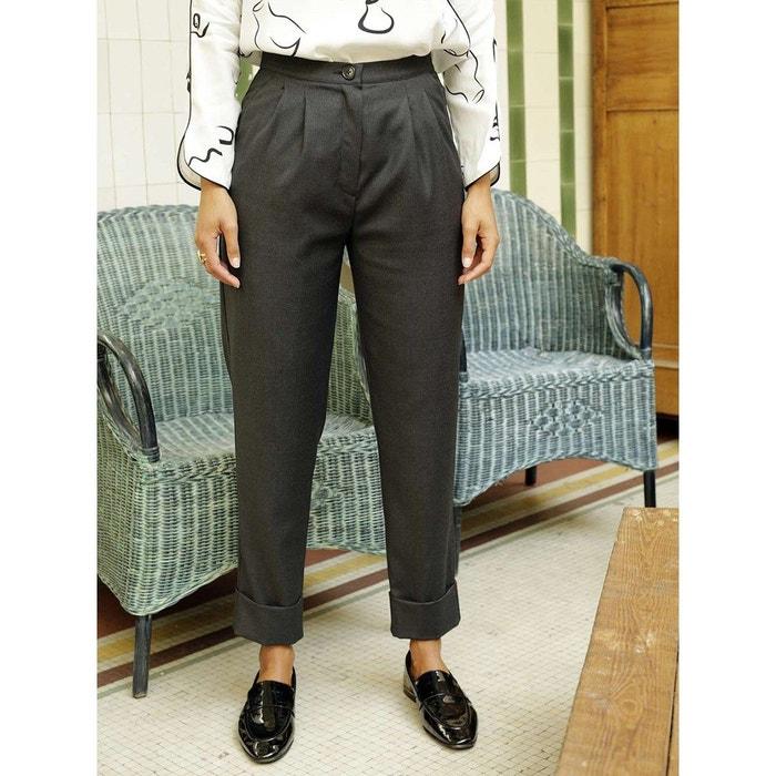 Pantalon 100% laine vierge tailleur gris