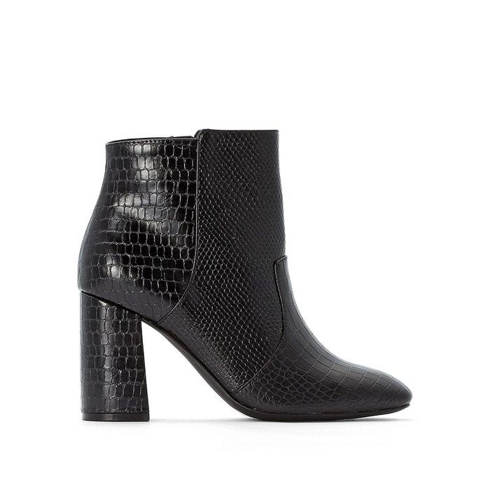 Boots bi matière lézard et croco bout carré noir La Redoute