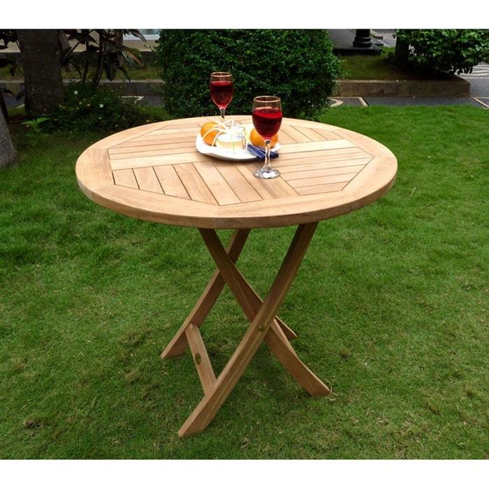 Table pliante de jardin 70 cm de diamètre teck brut Wood En ...