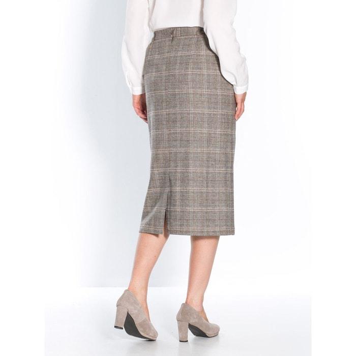 Jupe droite, longueur 62cm marron carreaux Secrets De Mode