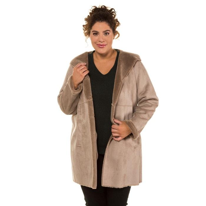 Manteau long imitation daim femme