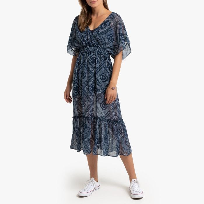 Lange jurk met kasjmier motief bedrukt marine Pepe Jeans | La Redoute
