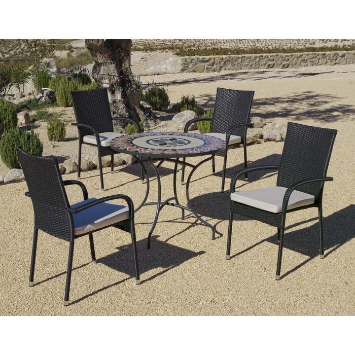 Salon de jardin table ronde mosaïque cambel ampuria noir ...