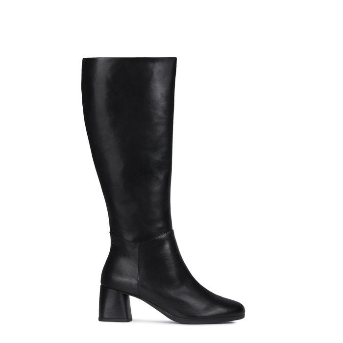 arrastrar Clancy otro  Calinda leather knee-high boots with mid heel , black, Geox | La Redoute