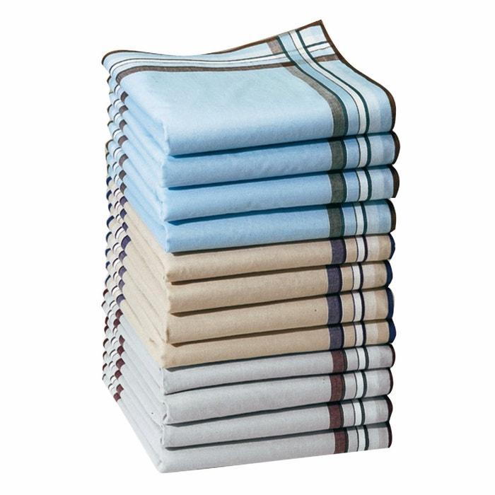 Lot Of 12 Pure Cotton Double Handkerchiefs Assorted La Redoute Interieurs La Redoute