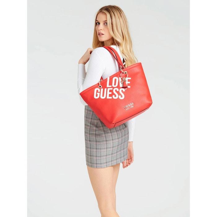 Cabas michy imprimé logo rouge multi Guess | La Redoute