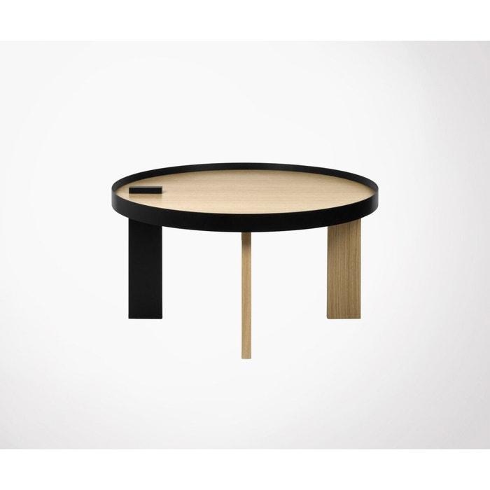 basse Table chêne multicolore ronde bruno 80cm métal SGqUzVpM