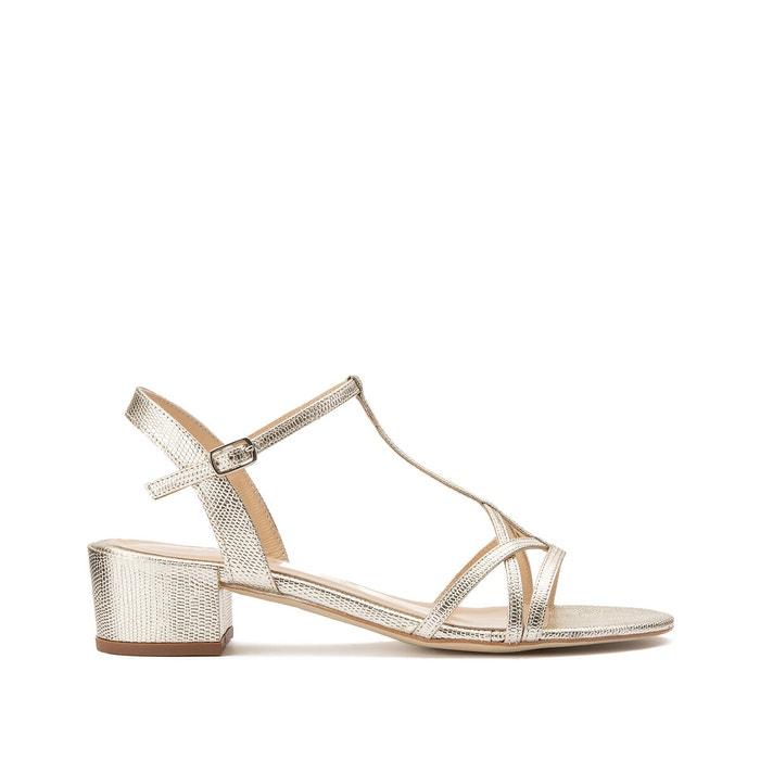 Sandales à talon carré Femme en reptile métallisé argent | Jonak