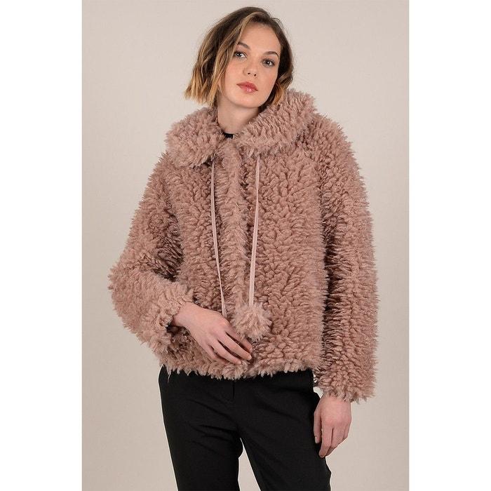 Blouson indie en fausse fourrure mouton rose clair Molly
